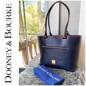 NWT authentic Dooney Bourke zip tote navy brown